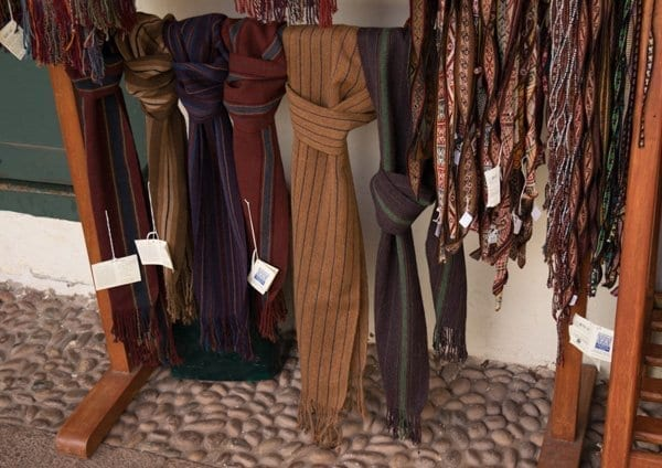 various traditional Peruvian scarves for sale