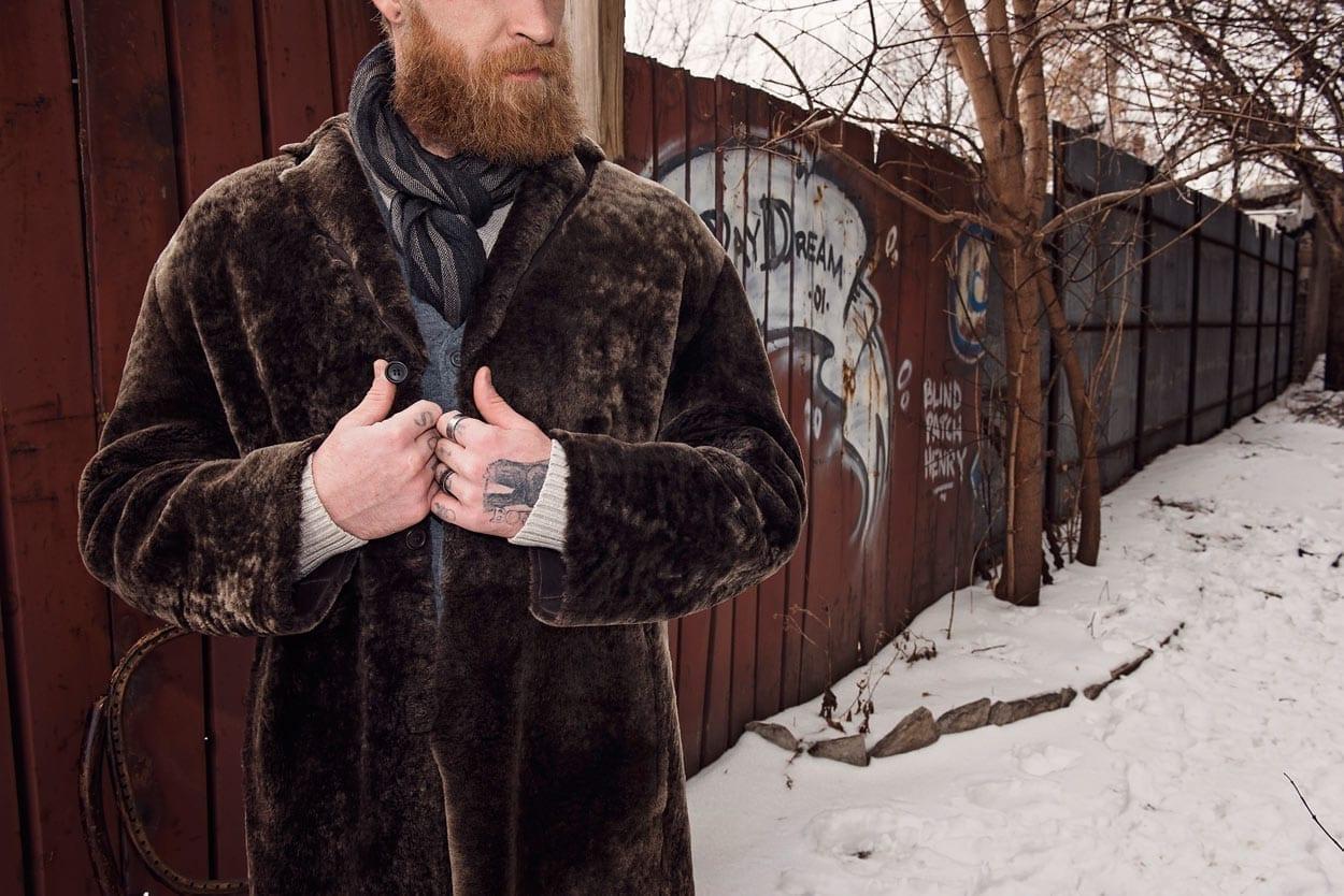 Pre-owned Prada shearling coat, dark brown leather