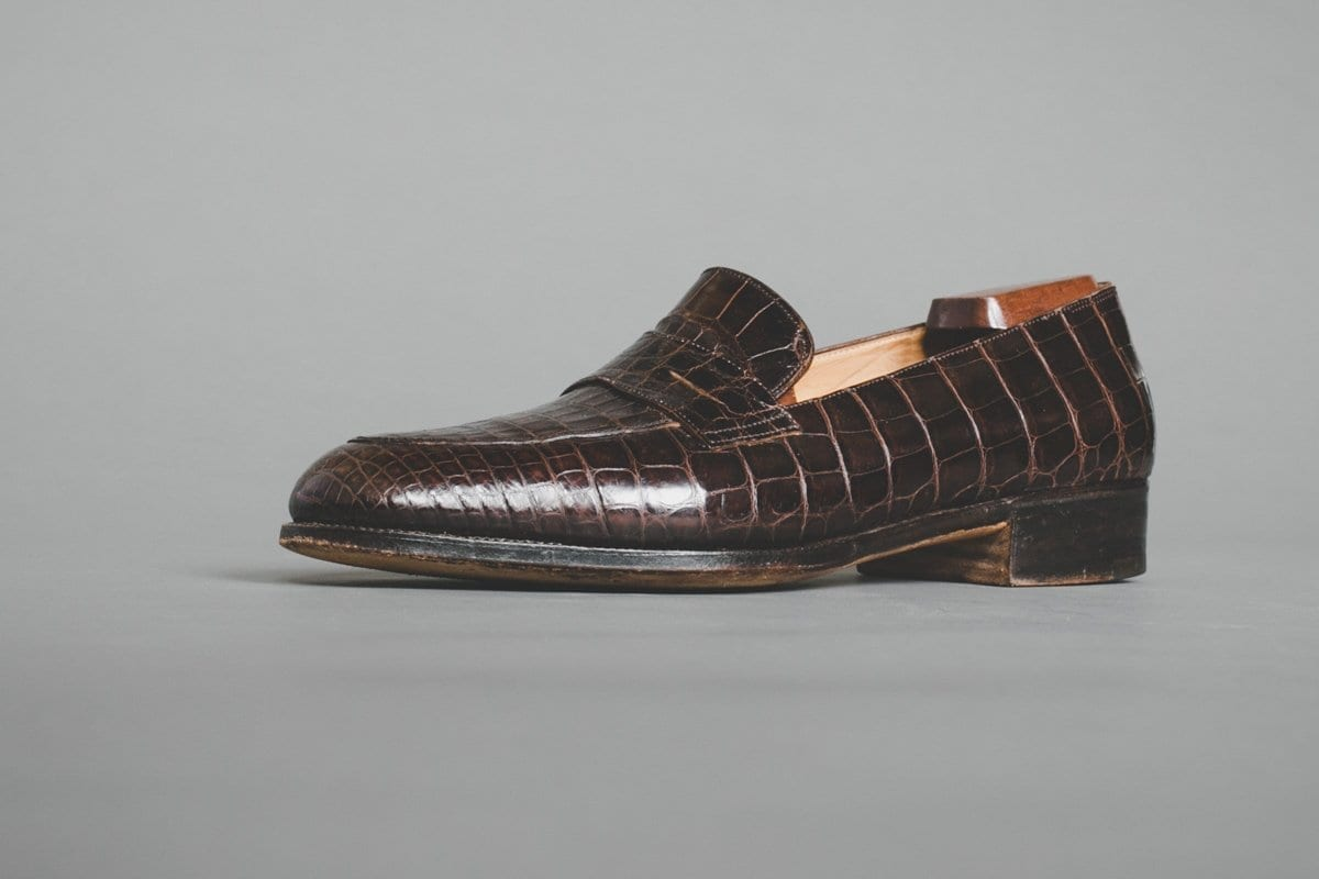 Lobb Bespoke Penny Loafer in Brown Alligator