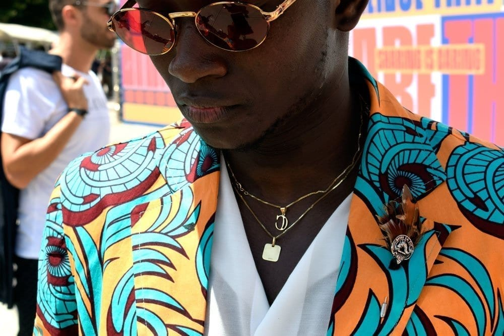 Colored Print Jacket, Sunglasses, Pitti