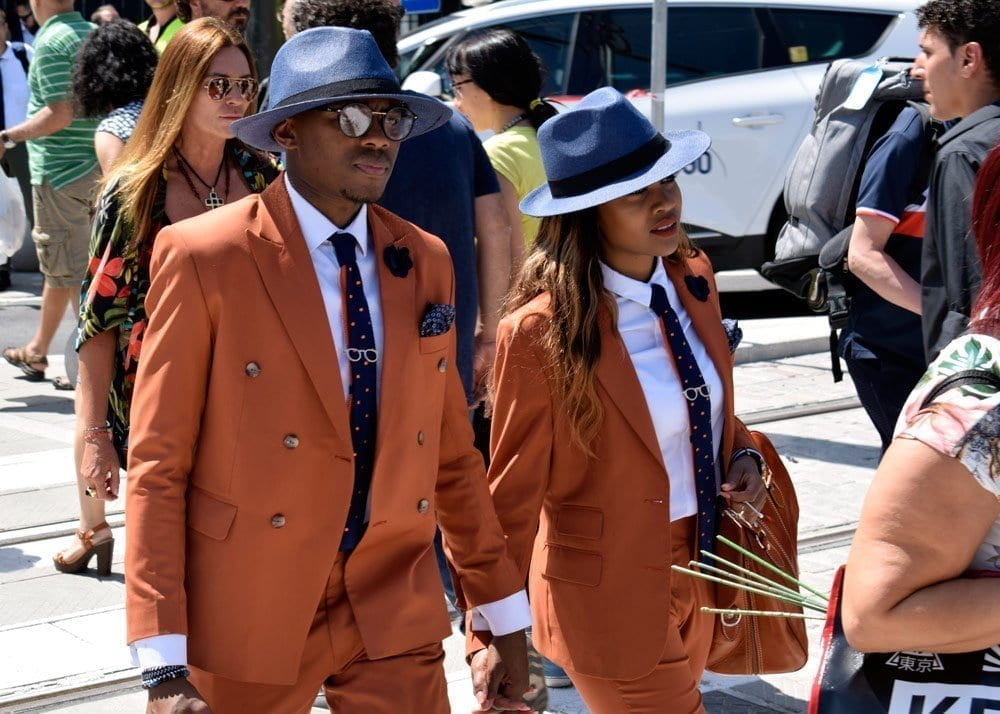 Orange Suits, couple, Pitti