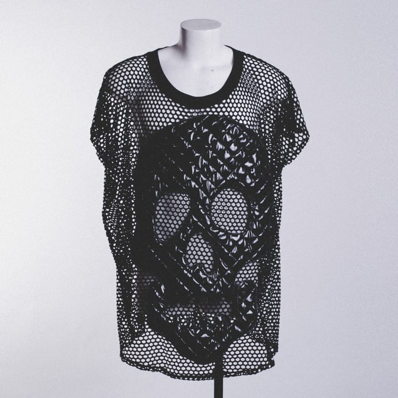 black skull tee, quilted, kitsch sleaze
