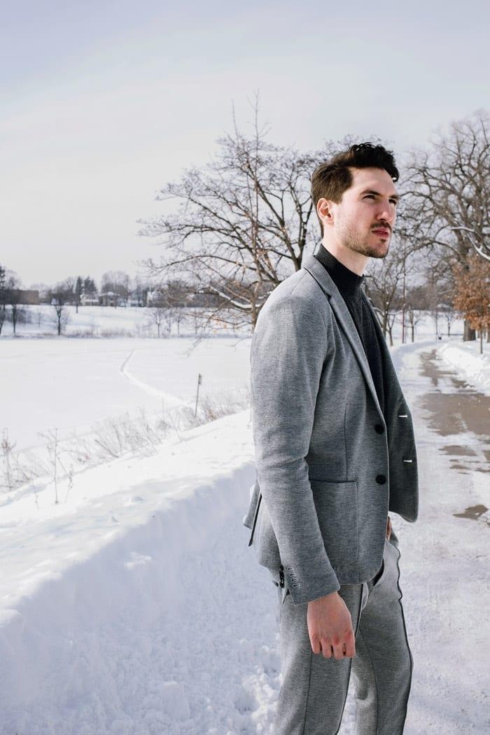 gray suit, emporio armani, mpls