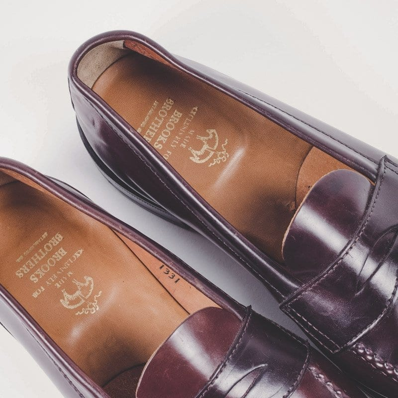 shell cordovan loafers, brooks brothers
