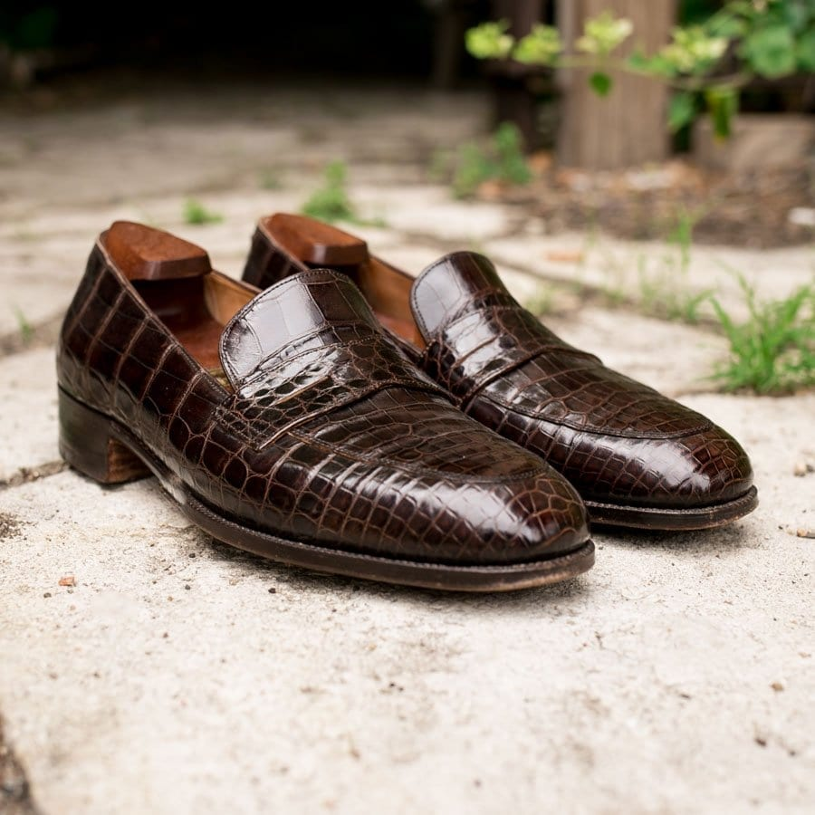 brown alligator loafer, john lobb