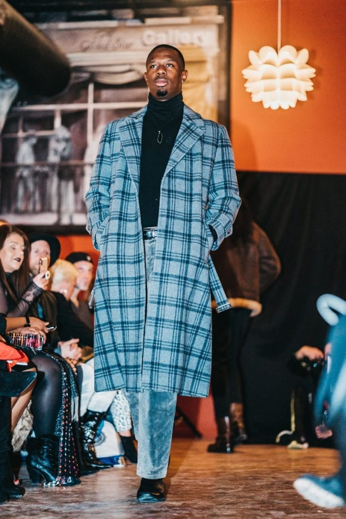 long coat, gray, black plaid wool