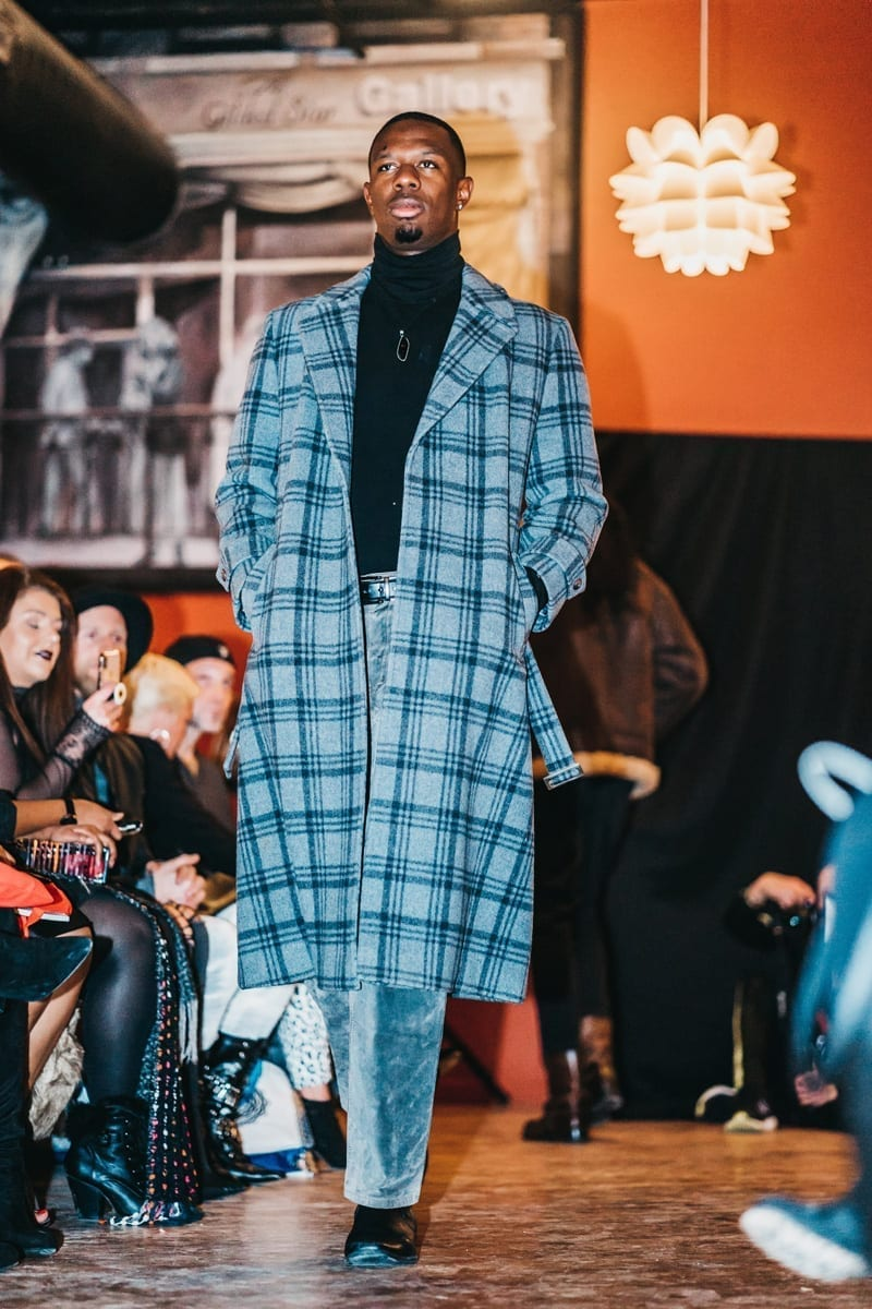 long coat, gray, black plaid wool